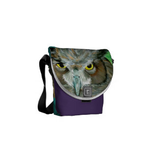 Acrylic Owl (Purple/Turquoise) Commuter Bags