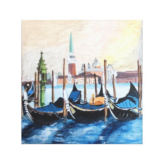Acrylic Painting of Gondolas by St Marks Square Canvas Print