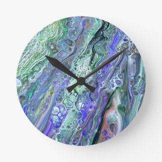"""Acrylic Pour #2"" Abstract Art Clock"