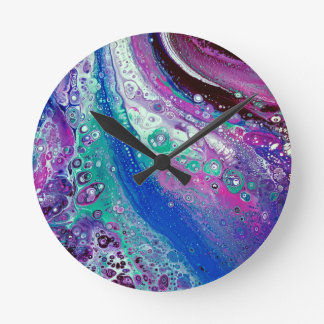 """Acrylic Pour #9"" Abstract Art Clock"