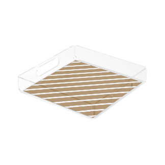 Acrylic Serving Tray Gold with White Stripes