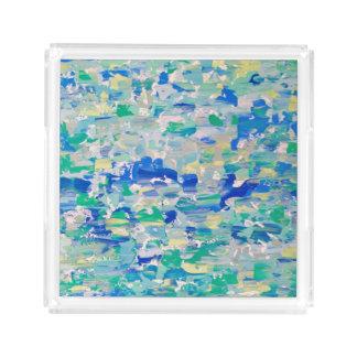 Acrylic Tray, Palette Knife Blues & Greens Perfume Tray