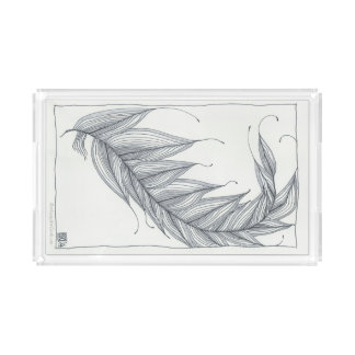 Acrylic Tray, Sophisticated Feather Design Serving Tray