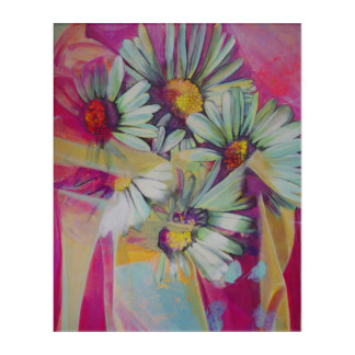Acrylic Wall Art Daisy Flower Bouquet Painting