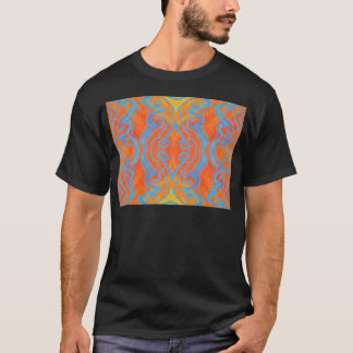 Acryllic Abstract Orange and Blue Trippy Pattern T-Shirt