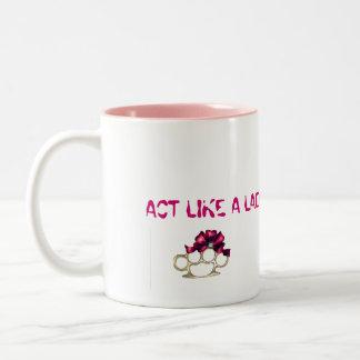 ACT LIKE A LADY-KnuckleBow Two-Tone Mug
