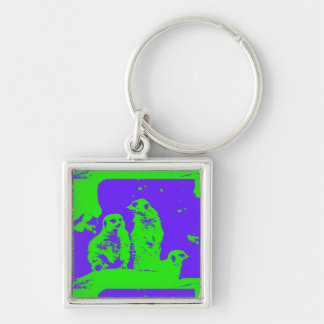 Act Natural Meerkat Pop Silver-Colored Square Keychain