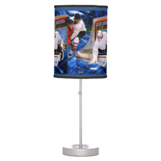Action at the Hockey Net Table Lamp