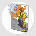 Action Firefighter Round Stickers