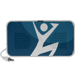 Action Pose Stick Figure Jumping Blue Button Travelling Speakers