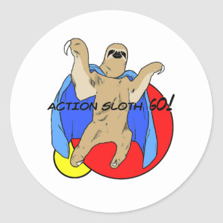 Action Sloth Colored Classic Round Sticker