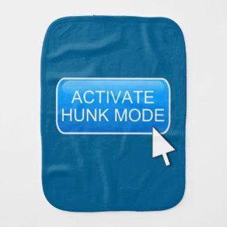 Activate hunk mode. burp cloth