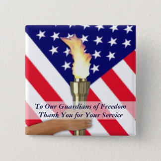 Active Duty Military or Retired Veterans Thank You 2 Inch Square Button