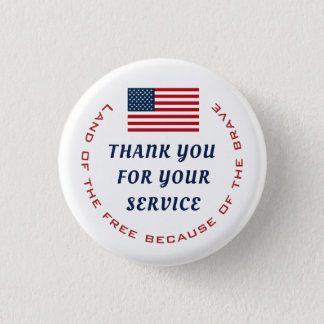 Active Duty or Retired Veteran Military Thank you 1 Inch Round Button