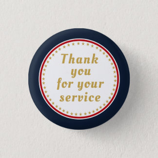 Active Duty Retired Military Police Fire Thank You 1 Inch Round Button