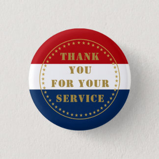 Active Duty Veteran Military Police Fire Thank You 1 Inch Round Button