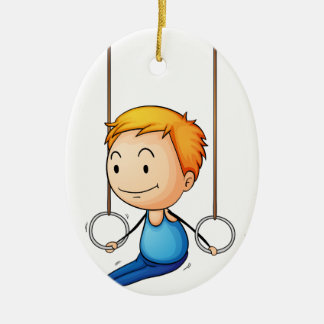 Active kid ceramic ornament