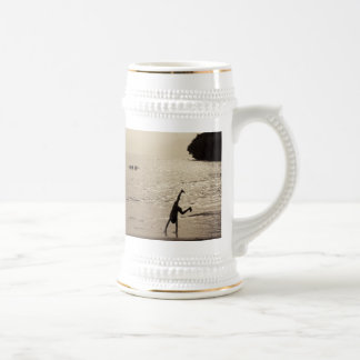 active silhouette beer stein