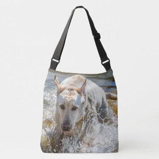 Active Yellow Labrador Splashing: Pet Photography Crossbody Bag