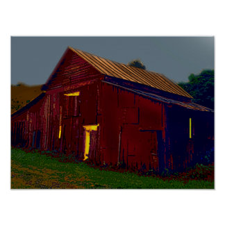 Activity in the Red Barn Under the Pale Moon Poster