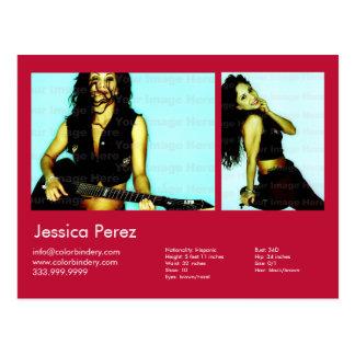 Actor & Model 2 Shot Red Headshot Comp Postcard