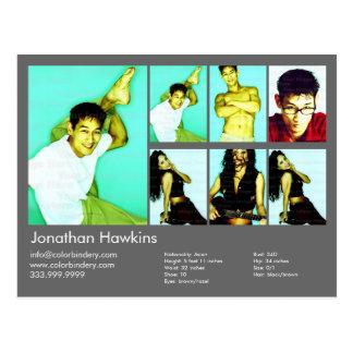 Actor & Model Dark Gray Headshot Comp Postcard