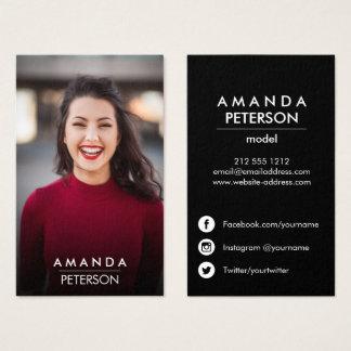 Actor Models Dancer Photo Social Media Icons  Dark Business Card