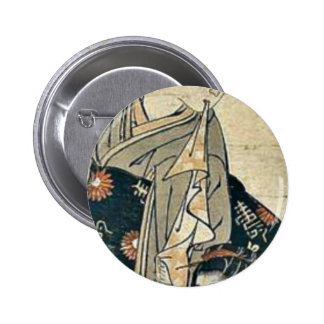 Actors before the theater by Isoda,Koryusai Pinback Buttons