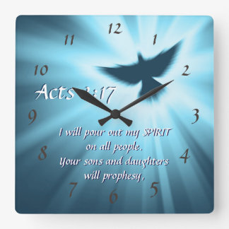 Acts 2:17 I will pour out My Spirit, Bible Verse Square Wall Clock