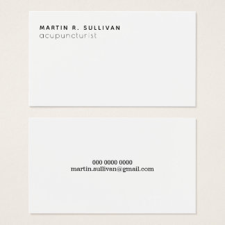acupuncturist (or any other prof) minimalist b/w business card