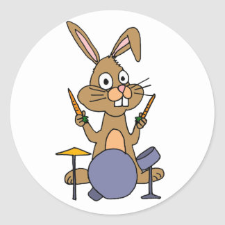 AD- Awesome Bunny Rabbit Playing Drums Round Sticker