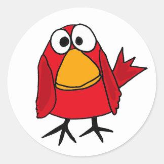 AD- Funny Sad Cardinal Bird Cartoon Round Sticker