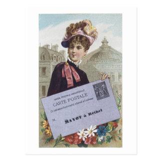 Ad Label Carte Postale Victorian Lady Postcard