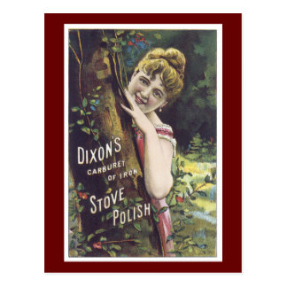 Ad Label Stove Polish Victorian Lady Postcard