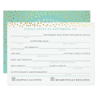 AD LIB RSVP REPLY fun rustic gold confetti mint Card