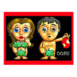 "Adam and Eve and the Apple ""OOPS!"" Funny! Postcard"