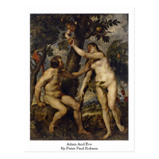 Adam And Eve By Peter Paul Rubens Postcard