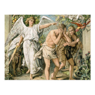 Adam and Eve cast out of Paradise Postcard