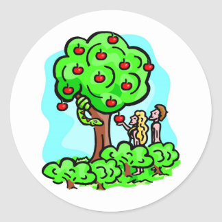 Adam and Eve Christian artwork Classic Round Sticker
