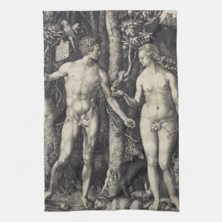 Adam and Eve Engraving by Albrecht Durer Kitchen Towel