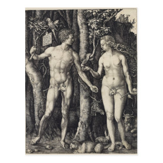 Adam and Eve, Engraving by Albrecht Durer Postcard