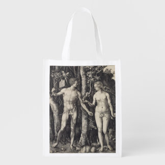 Adam and Eve Engraving by Albrecht Durer Reusable Grocery Bag