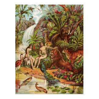 Adam And Eve In The Garden Postcard