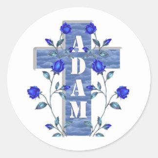 Adam Blue Cross Round Sticker