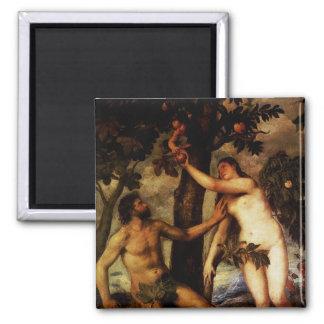 Adam et Ève - l'automne de l'aimant de l'homme Magnet Carré
