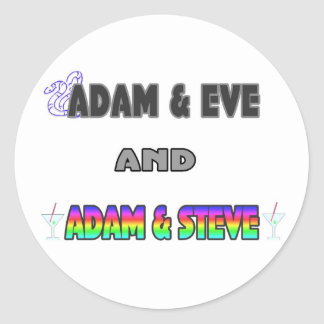 Adam & Eve & Adam & Steve Round Sticker