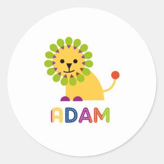 Adam Loves Lions Round Sticker
