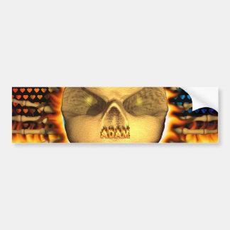 Adam skull blue fire and flames bumper sticker