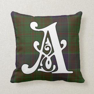 Adams Clan Tartan Monogram Throw Pillow