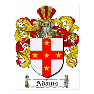 Adams Coat of Arms / Adams Family Crest Postcard